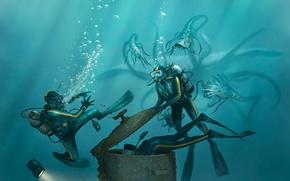 Обои опасность, монстр, арт, щупальца, фонарь, водолазы, люк, акваланг, спешка