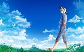 Обои небо, облака, шляпа, луг, парень, Gintama, гинтама, Sakata Gintoki