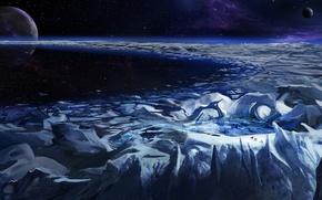 Картинка лед, космос, звезды, туманность, планеты, ледник, кольцо, путники