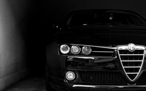 Обои морда, черный, фары, Alfa Romeo