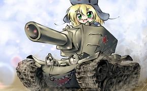 Картинка девушка, танк, Арт, chibi, kv-2
