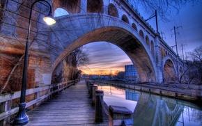 Картинка мост, фонарь, канал, США, Evening, Philadelphia, Bridges, Rivers