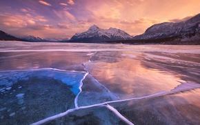 Картинка ice, Canada, sky, landscape, nature, cloud, mountains, lake, tree, cold, Abraham Lake, kumo, frozen lake, …