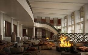 Картинка дизайн, стиль, интерьер, отель, холл, Hotel, Kazakhstan, Almaty