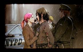 Картинка Полиция, Дождь, Sakura Haruno, Naruto Uzumaki, Саске Учиха, Фан-Арт, Наруто Узумаки, Сакура Харуно, Saske Uchiha