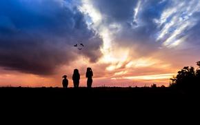 Картинка лето, закат, контуры, маленькие человечки