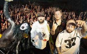 Картинка рэпкор, ню-метал, Limp Bizkit, Фред Дерст, Джон Отто, Сэм Риверс, Уэс Борланд