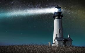 Картинка небо, трава, звезды, свет, маяк, домик