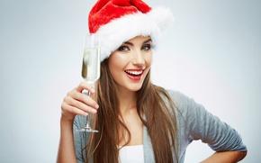 Картинка девушка, женщина, новый год, girl, шампанское, hat, woman, cup, santa claus, champagne, Санта-Клаус, wishes, пожелания, …