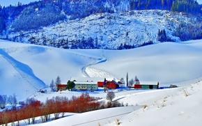 Картинка зима, снег, горы, дома, склон