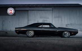 Картинка 1971, Dodge, Black, Charger, with, HRE, Brushed, Tantrum, S104