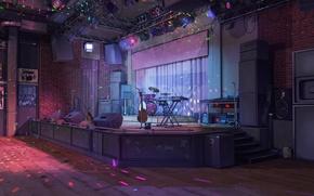 Обои сцена, гитара, клуб, колонка, барабан, art, night club