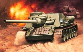 Картинка рисунок, СССР, вторая мировая, САУ, Enzo Maio, самоходно-артиллерийская установка, истребителей танков, СУ-100
