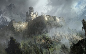 Картинка Горы, Игры, Лара Крофт, Арт, Game, Lara Croft, Rise of the Tomb Raider