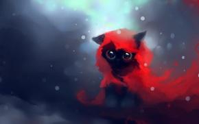 Обои взгляд, глаза, снег, apofiss, котенок, красное