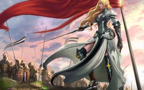 Картинка поза, оружие, меч, доспехи, арт, войско, девушка. воин, красный флаг