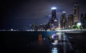 Картинка дорога, ночь, город, огни, река, здания, дома, небоскребы, Чикаго, лужи, USA, США, Иллинойс, Chicago, Illinois, ...