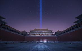 Картинка дворцовый комплекс, Запретный Город, фиолетовое, Китай, ночь, сиреневое, небо, звезды, Пекин