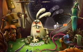 Картинка карты, космос, фантастика, игра, робот, деньги, арт, азарт, каюта