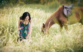 Картинка лето, трава, конь, лошадь, платье, прогулка, азиатка