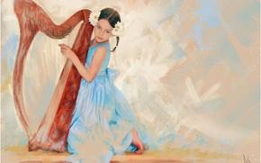 Картинка музыка, голубой, рисунок, графика, картина, платье, арфа, девочка, живопись, музыкант, нежно, бежевый, музыкальный инструмент, пастельные …