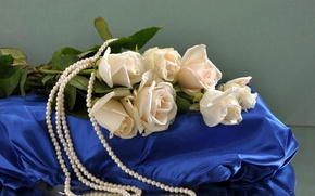 Картинка цветок, цветы, розы, букет, шелк, жемчуг, бусы, белые, шёлк, жемчужины