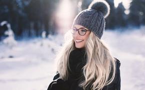 Картинка зима, радость, смех, шапочка, Martin Kühn, Lisa-Marie