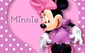 Обои heart, disney, polka dots, minnie, purple, pink, mouse, cartoon