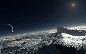 Обои звезда, планета, спутник, кратер