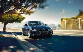 Обои синий, бмв, BMW, седан, F30, Sedan, 3-Series