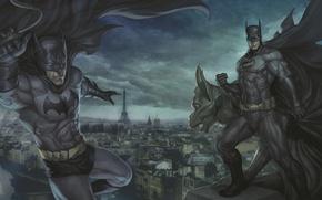 Обои крыша, batman, париж, бэтмен, плащ, dc comics, artgerm (stanley lau), горгулья