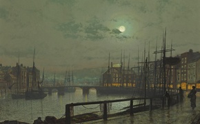 Картинка небо, облака, мост, река, люди, луна, лодка, корабль, дома, картина, набережная, Whitby, John Atkinson