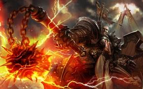 Картинка огонь, diablo 3, крестоносец, reaper of souls, Diablo 3: Reaper of Souls, morgenstern