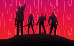 Картинка Rocket, Zoe Saldana, Peter Quill, Star-Lord, Guardians of the Galaxy, Gamora, Groot, Chris Pratt, Drax