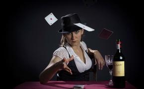 Обои карты, игры, женщина, Poker Face