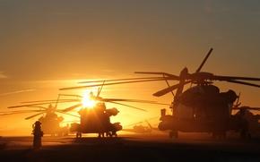 Картинка sunset, sun, Helicopters