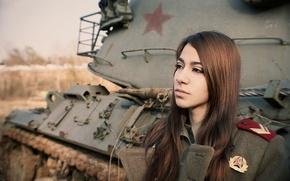 Картинка девушка, лицо, танк, форма