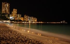 Обои романтика, ночное побережье, пляж