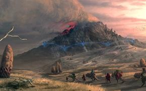 Картинка камни, пустыня, дым, гора, вулкан, арт, караван, Morrowind, lelek1980
