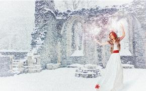 Картинка красный, праздник, снег, зима, белый, танец, новый год, девушка, настроение, радость, платье