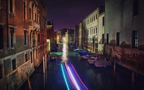 Картинка ночь, улица, здания, дома, лодки, Италия, Венеция, канал, Italy, night, street, гондолы, Venice, Italia, Venezia, …