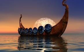 Картинка море, небо, корабль, викингов