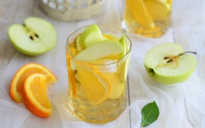 Обои яблоко, апельсин, напиток, лимонад