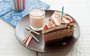 Картинка стакан, день рождения, молоко, тарелка, торт, крем, свечки, бисквит