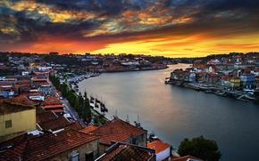 Картинка город, река, рассвет