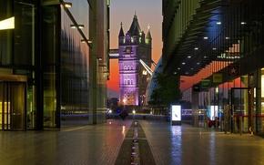 Картинка ночь, огни, улица, Англия, Лондон, башня, Тауэрский мост