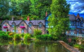 Обои Lymm, камыши, Англия, обработка, кусты, деревья, дом, зелень, пруд