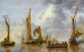 Картинка корабль, картина, парус, морской пейзаж, Ян ван де Капелле, Салют с Правительственного Шлюпа