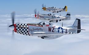 Картинка небо, облака, самолет, Mustang, истребитель, пилот, летит, P-51, North American