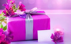 Картинка подарок, свеча, flower, candle, Альстрёмерия, Gifts